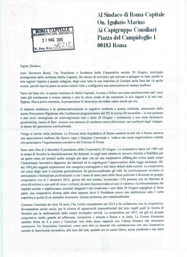 Buzzi scrive a Marino (prima pagina)