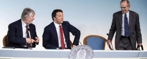 Matteo Renzi, Giuliano Poletti,  Pier Carlo Padoan
